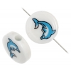 Bead Discs 19mm Dolphin Blue